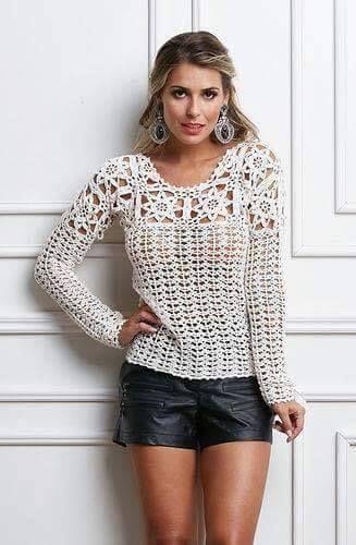 Witte Gehaakte Trui.Zomertrui Haken Sueteres Crochet Clothes Crochet Blouse En
