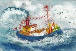 Stoomboot met Sinterklaas (K30-697) ansichtkaart