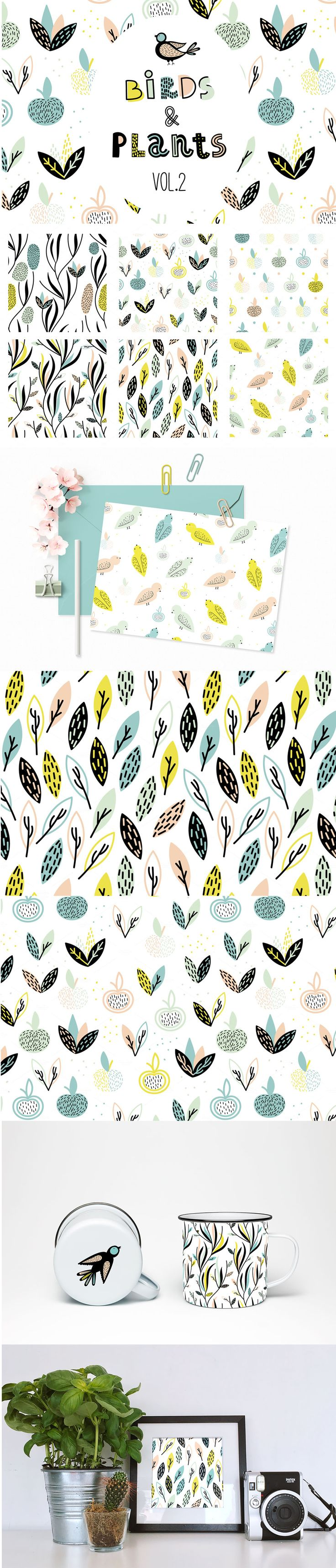 Birds&Plants #Vector #Patterns