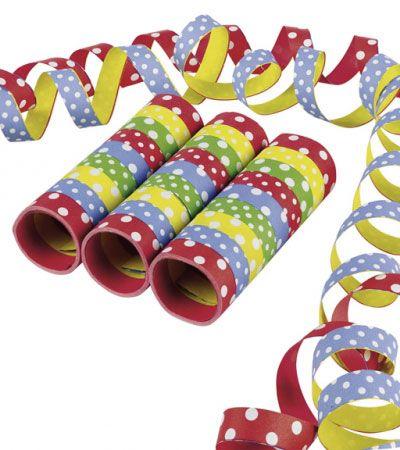 Papierluftschlangen mit Punkten - bunt - 3 Stück | Luftschlangen | Dekoration | Pink Dots - Partystore