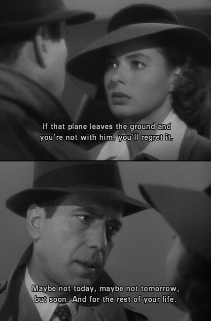 """""""If a face like Ingrid Bergman's looks at you as though you're adorable, you don't have to act very much."""" -   Humphrey Bogart"""