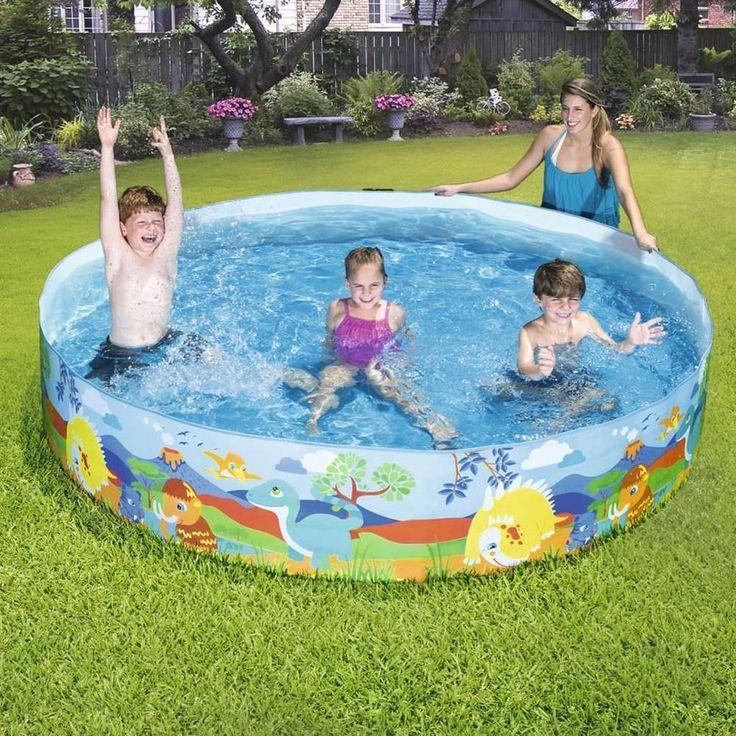 2074L Inflatable Pool Dinosaur Design PVC Sidewall Vinyl Floor Garden Backyard
