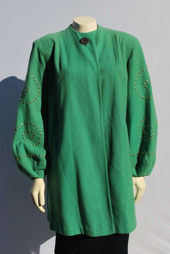 Vintage 40's green ART DECO coat overcoat gold by thekaliman, $250.00: Overcoat Gold, Grip Green, Vintage, 40 S Green, Green Art, Virtual Wardrobes, Art Deco, Coats Overcoat, Deco Coats