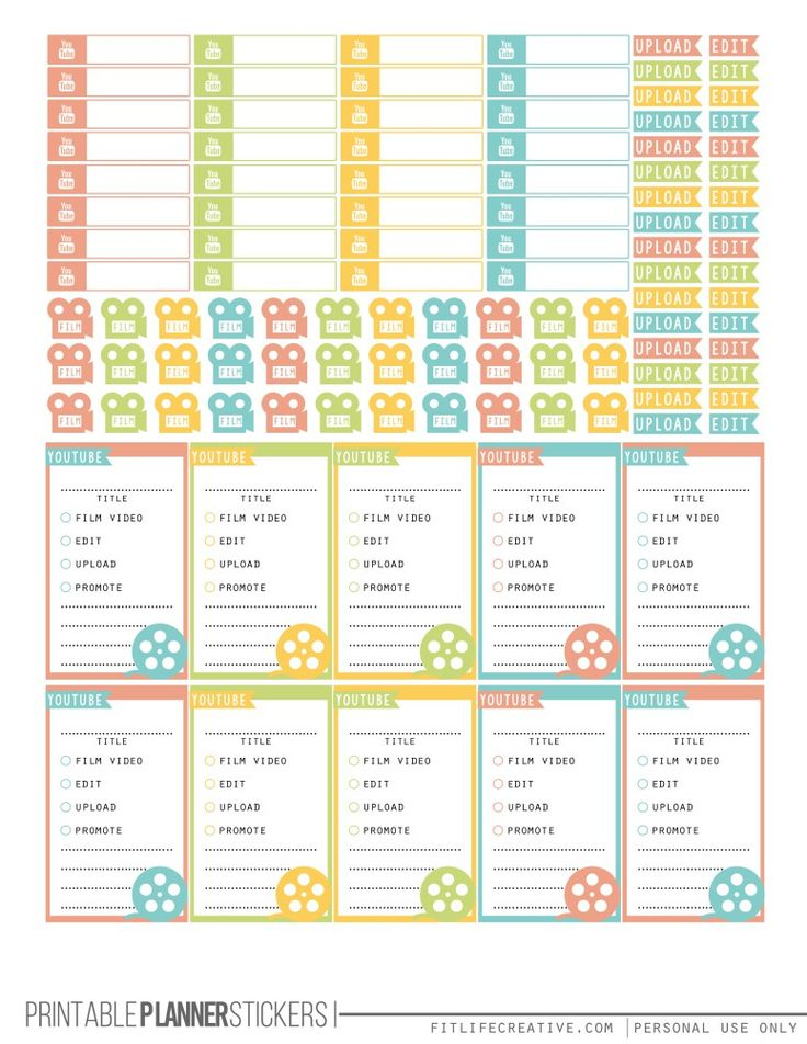 YouTube Planner Stickers Summer Printable Happy Planner Stickers - FREE