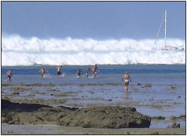 Tsunami in Hat Rai Lay Beach, near Krabi in southern Thailand, 2004