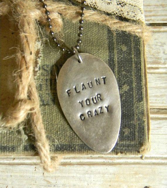 Spoon Necklace Stamped Spoon Necklace Flaunt by CarolinaVintageCo