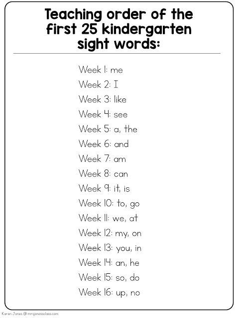 Order for teaching the first 25 sight words in kindergarten. (+Interactive Sight Word Notebooks)