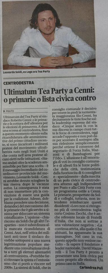 """""""L'ultimatum del Tea Party a Cenni: o primarie o lista contro"""" - (Il Tirreno - 9 gennaio 2014)"""