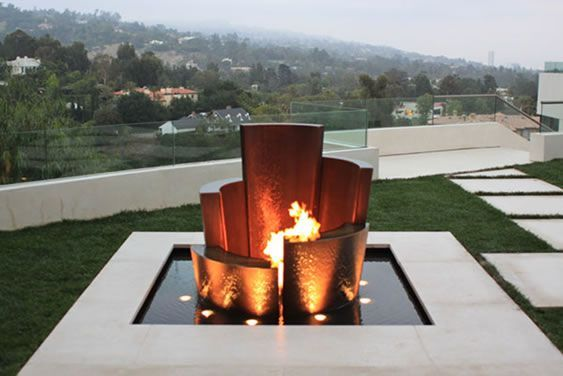 unique water fountains, outdoor living, ponds water features, Unique Water Fountain Fire and Water: