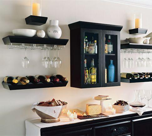 Love the liquor cabinet/wine glass racks