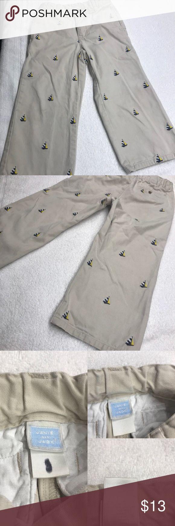 VGUC 3T Janie U0026 Jack Khaki Pants With Sailboats