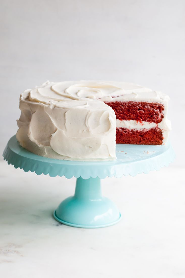 Red Velvet Cake With Fluffy White Frosting Recipe — Dishmaps