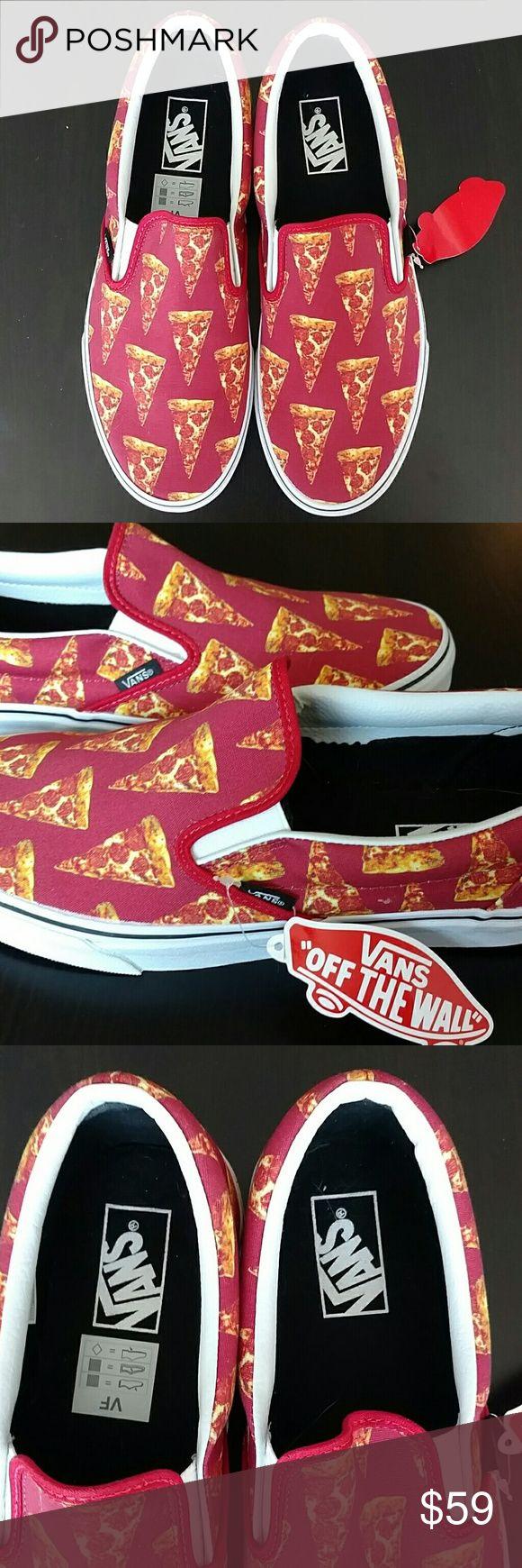 "Vans Pizza Print Sneakers Vans ""off the wall"" pizza print 🍕🍕🍕🍕 slip on sneakers. NWT. Size 9.5 Men's or 11 Women's. Vans Shoes Sneakers"