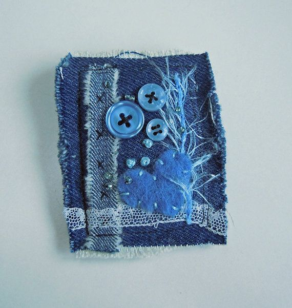 Upcycled Denim Textile Art Fibre Brooch Pin by mbSTITCH on Etsy