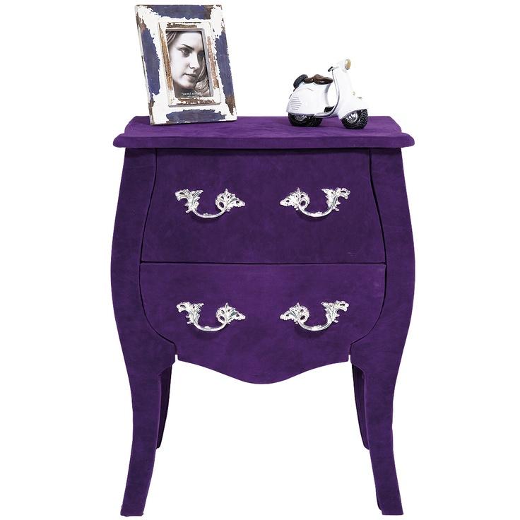 NEW! Frolic Flocked Purple Bedside Table