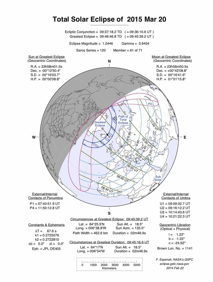 This map shows the predicted path of the total solar eclipse for March 20, 2015. - Credit: Fred Espenak/NASA GSFC