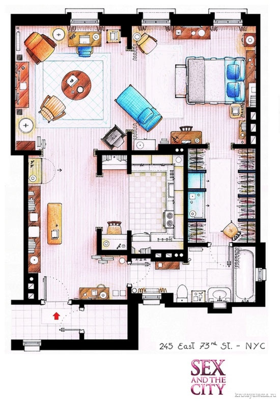 This is a house-plan based in the apartment of Carrie Bradshaw from the TV