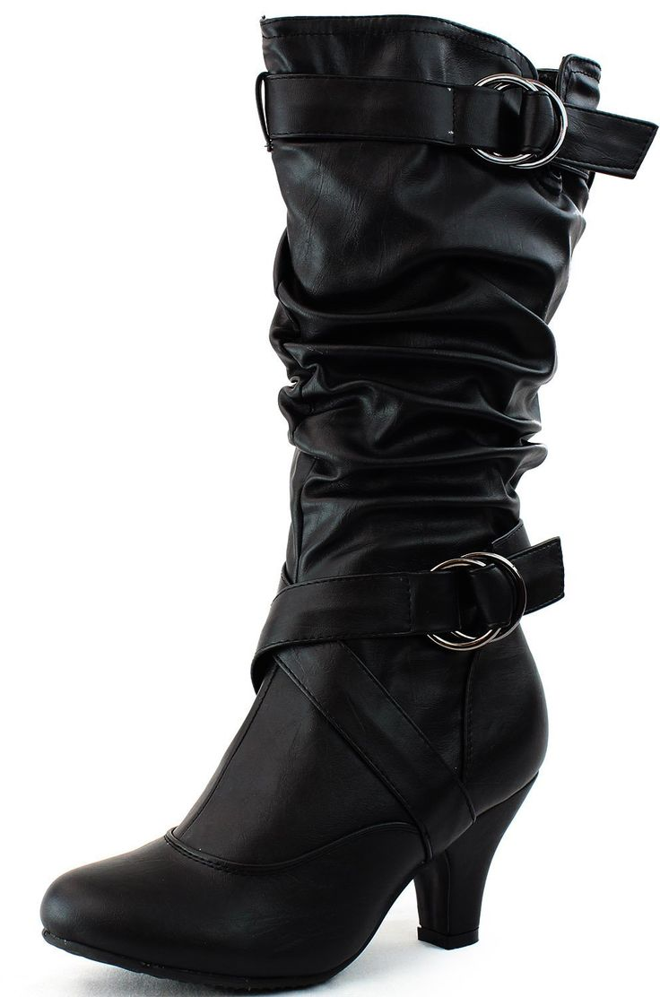 Womens Buckle Straps Low Heel Casual Trendy Round Toe Cowboy Mid Calf Knee  High Boots Fashion Slouch Dress Comfortable Stylish Black Pu 8