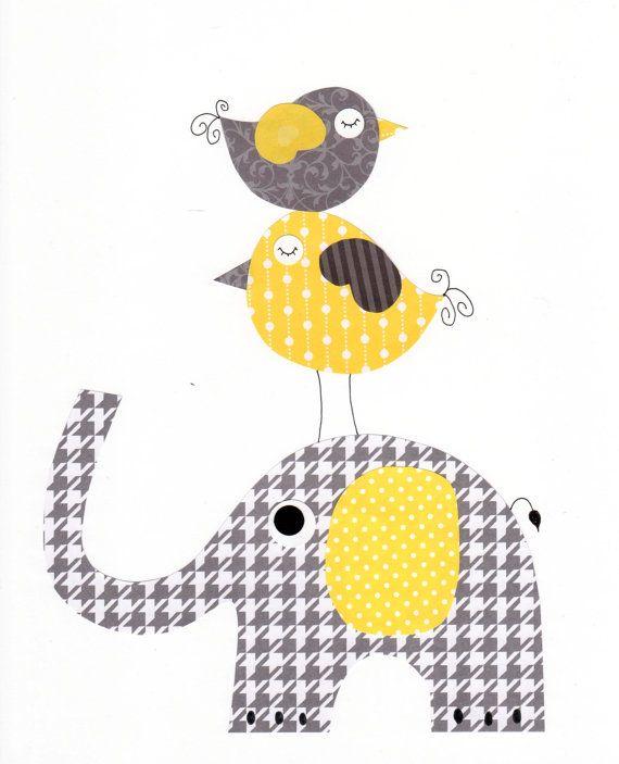 Jaune et gris amour pépinière oeuvre Print / par 3000yardsofthread