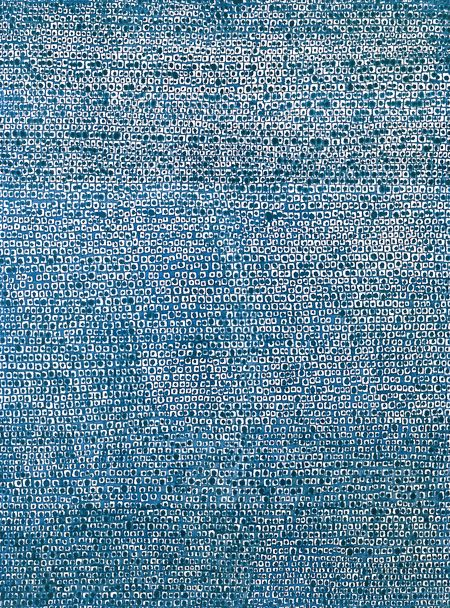 "김환기 (Whanki Kim) :  Where, in What Form, Shall We Meet Again? 어디서 무엇이 되어 다시 만나랴? (1970). Abstract pointillist painting. The title comes from a verse in Kwang-sup Kim (김광섭)'s poem ""In the Evening."""