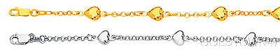 14K Anklet Yellow or White Gold Heart Bracelet Rolo Chain
