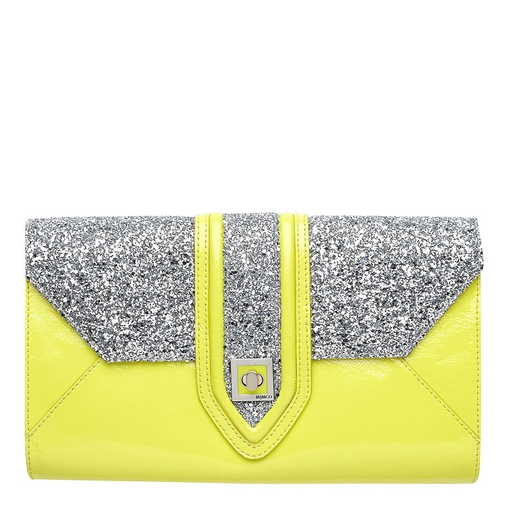 Bright yellow and sparkly, can't go wrong! Maharaja Envelope  clutch from Mimco