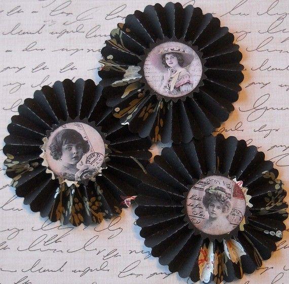 black upcycled wallpaper rosettes by jardindepapier