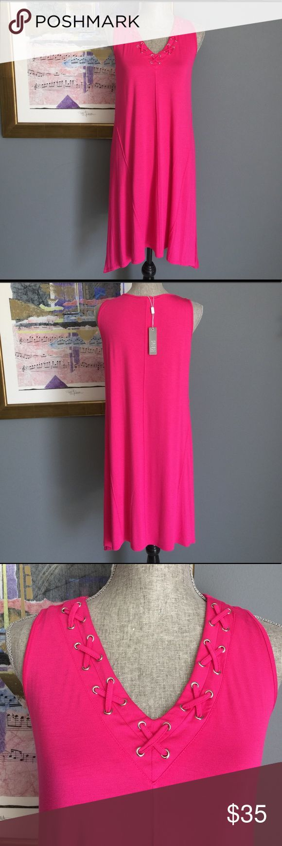 Hot Pink Dress by Spense Petite Soft, summery hot pink dress from Spense!  Made of 95% viscose/5% spandex.  Machine washable. Spense Dresses