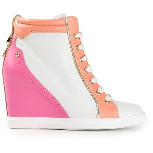 BALLIN wedge hi-top sneakers (310 CAD) ❤ liked on Polyvore featuring shoes, sneakers, leather high top sneakers, pink wedge sneakers, wedge sneakers, white wedge sneakers and leather wedge sneakers