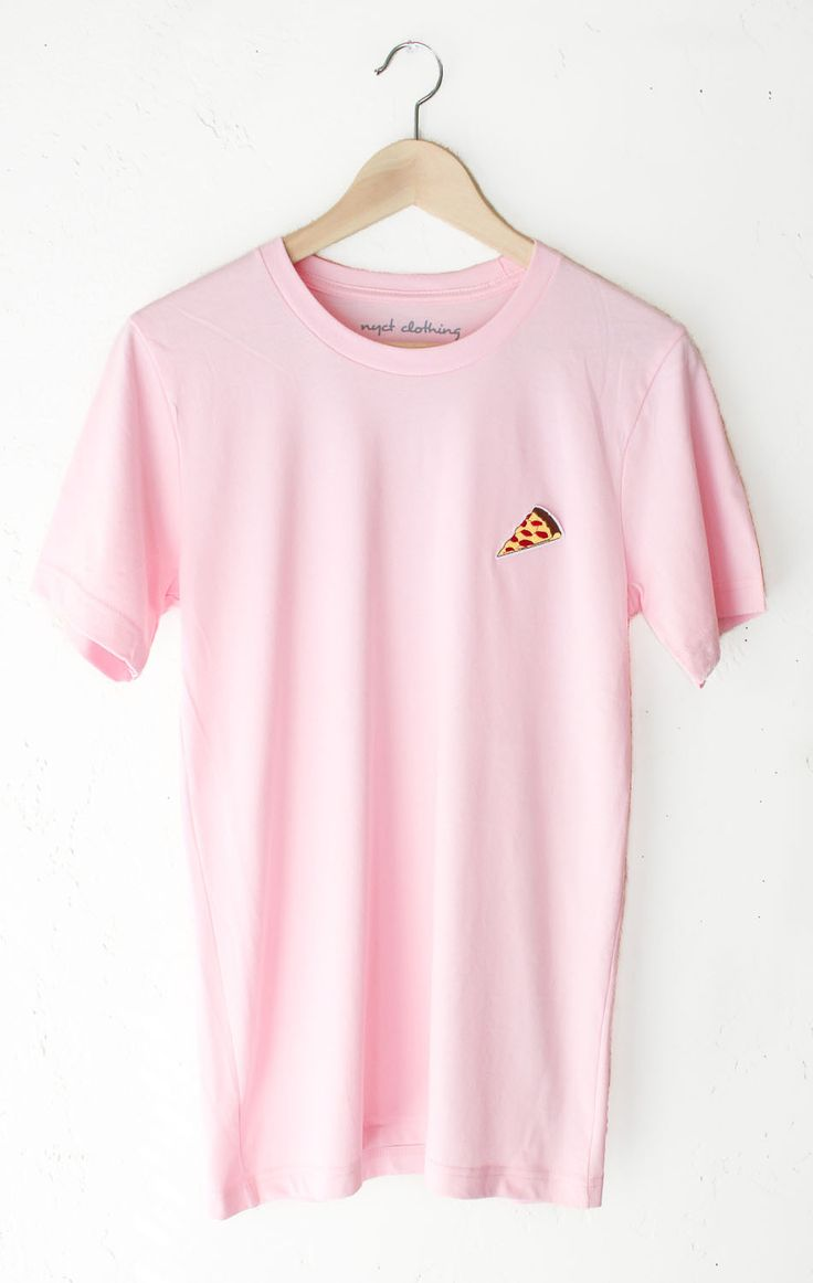 "- Description Details: Unisex, loose fit t-shirt in pink with a pizza patch on front left chest. Brand: NYCT Clothing. Measurements: (Size Guide) S: 36"" bust, 27"" length M: 40"" bust, 29"" length L: 44"""
