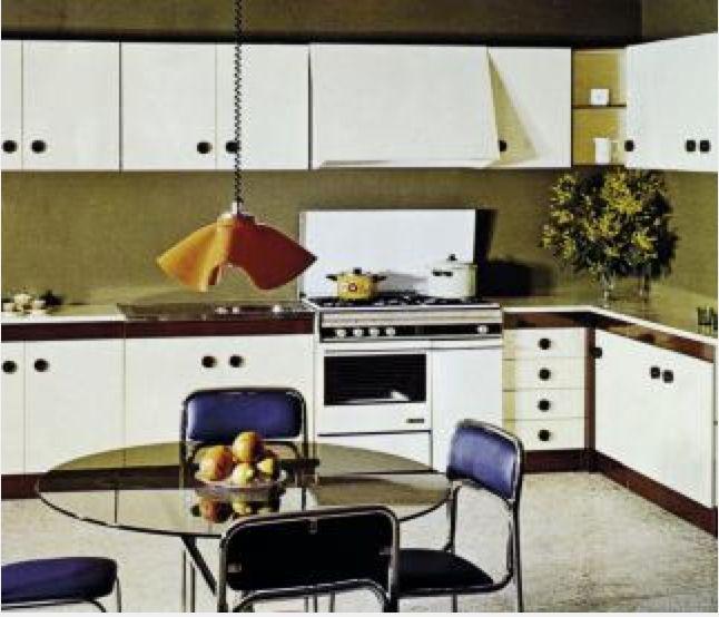 Años 60 y 70 — Primeros armarios de cocina En los años 60 se producen los primeros armarios de cocina. Como respuesta a esta especialización, se amplían las instalaciones y se mejora el sistema productivo, orientándolo a la fabricación de cocinas. En los años 70 comienza la producción de módulos independientes y surge el concepto de cocina componible, dejando atrás la fabricación de armarios monocuerpo de décadas anteriores.