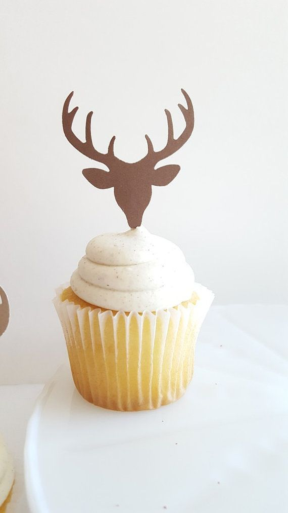 Deer Head Cupcake Toppers {Dozen} Antler Rack, Hunting Party Decoration, Birthday Party Decor, Baby Shower Theme Deer Head 4 COLORS