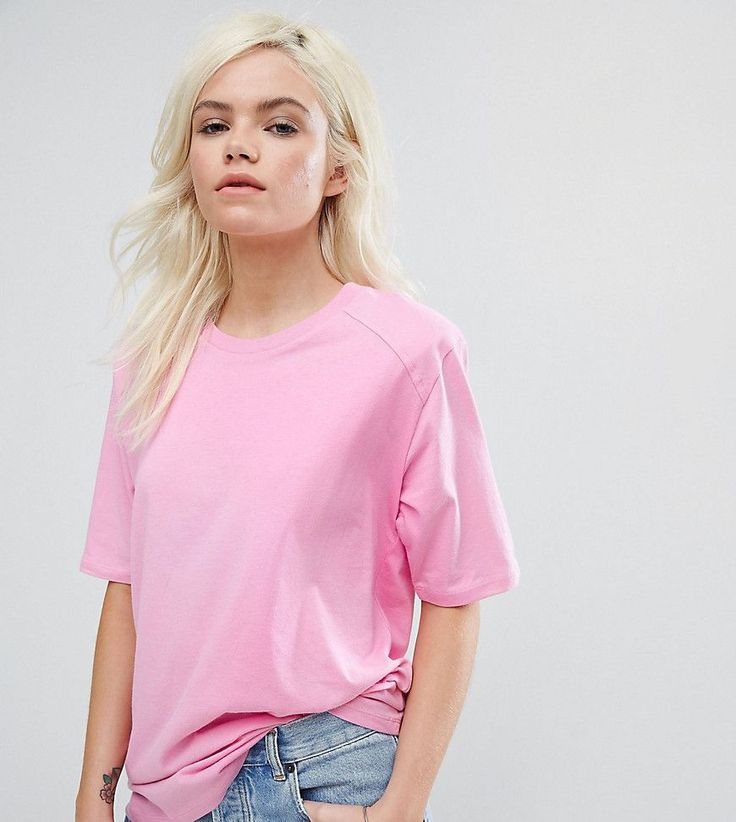 ASOS PETITE T-Shirt in Boxy Fit with Shoulder Pad - Pink