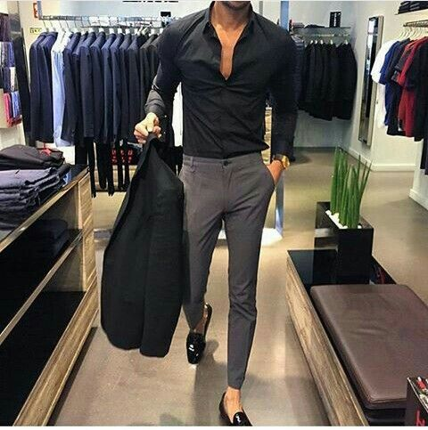 Grey pants  Black fitted shirt Black blazer Black loafers