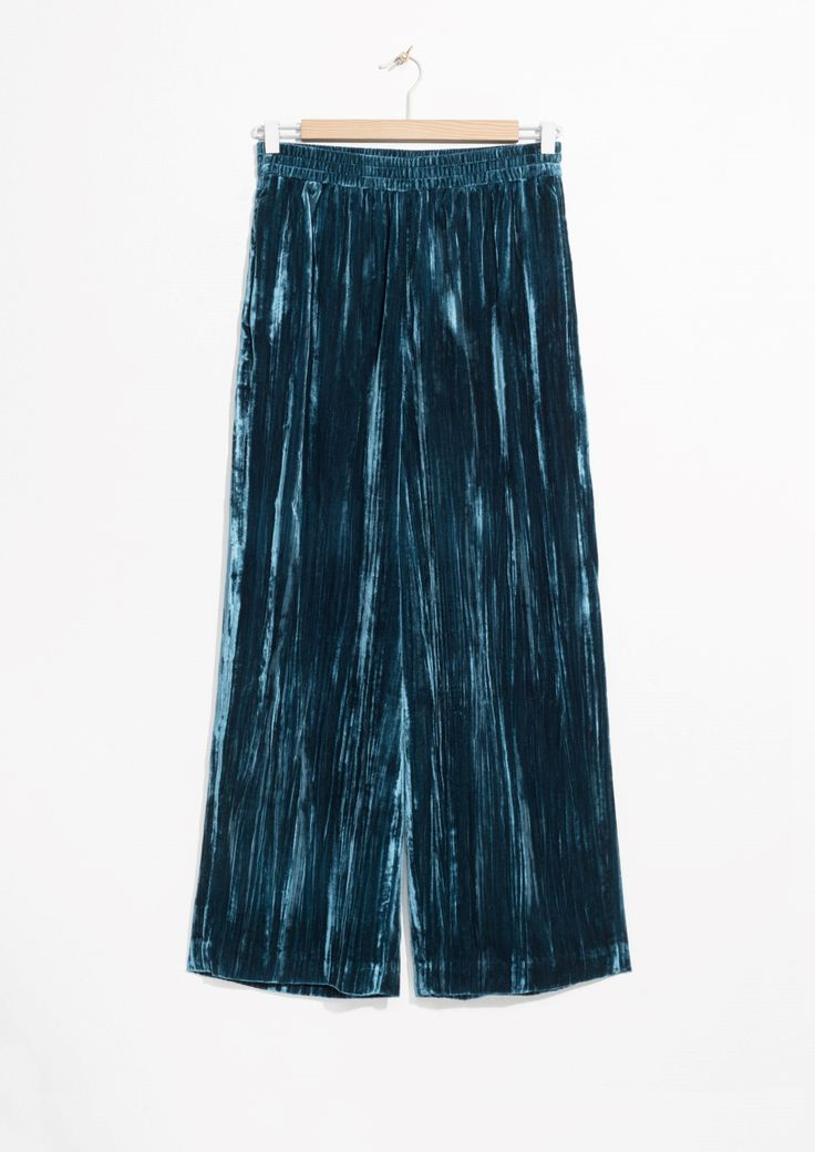 & Other Stories | Wide Velvet Trousers in Blue