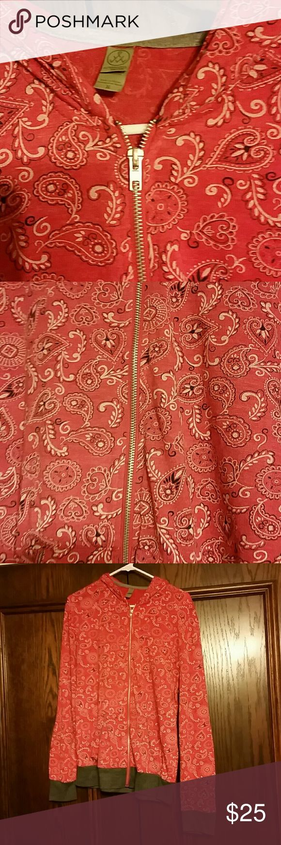 Alternative Earth Apparel Red Paisley Zip up hoody Alternative Earth Apparel Red Paisley Zip up hoody!  Super soft & comfy! Dark grey wrist cuffs & bottom of hoody.  Ladies Medium. True to size. Too big for me.  =( Never worn. No tags.   Happy Poshing! Alternative Apparel Tops Sweatshirts & Hoodies