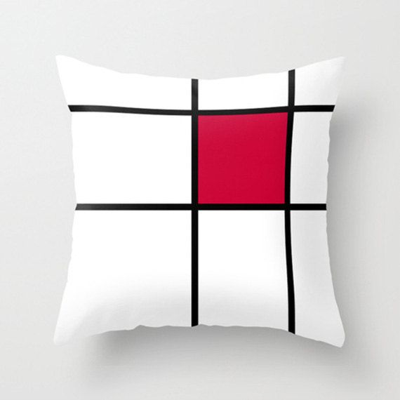 Mondrian Red  red and white throw pillow/cushion by GorgeousGD
