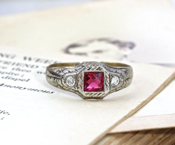Edwardian Ruby and Diamond Ring, Antique 14k Bi-Color Yellow & White Gold, Full Cut Diamonds Synthetic Ruby, Circa 1910