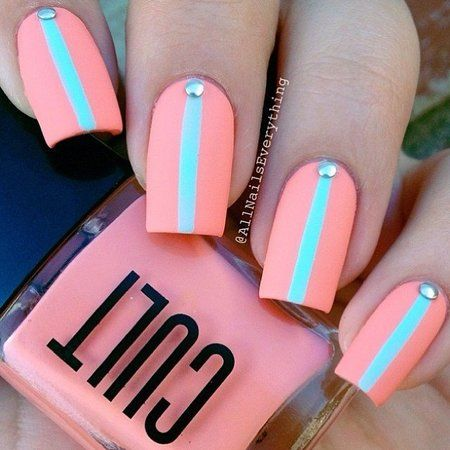 Bright Springy Minty Peachy Nails - #springnails #peachnails #mintnails #allnailseverything - bellashoot.com