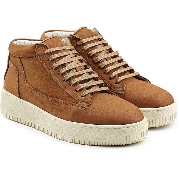 ETQ Leather Mid-Height Sneakers (2.943.010 VND) ❤ liked on Polyvore featuring shoes, sneakers, brown, round toe shoes, brown lace up shoes, brown leather shoes, brown leather sneakers and leather lace up shoes