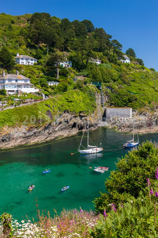 De coastal village of Polperro in Cornwall, Brentfields_ England