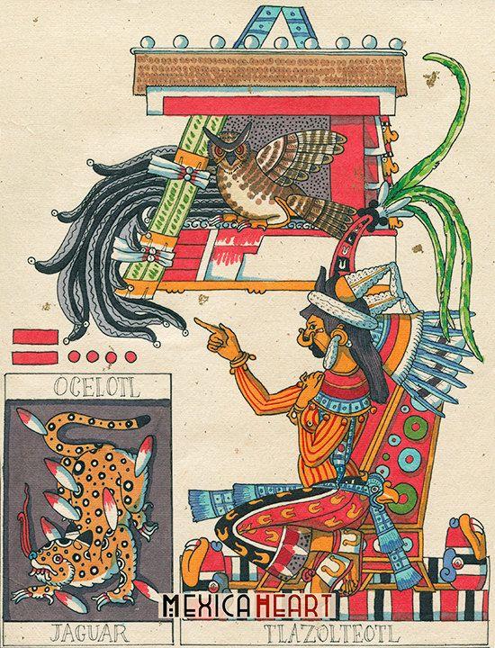Tlazolteotl Ocelotl arte original almanaque de por MexicaHeart