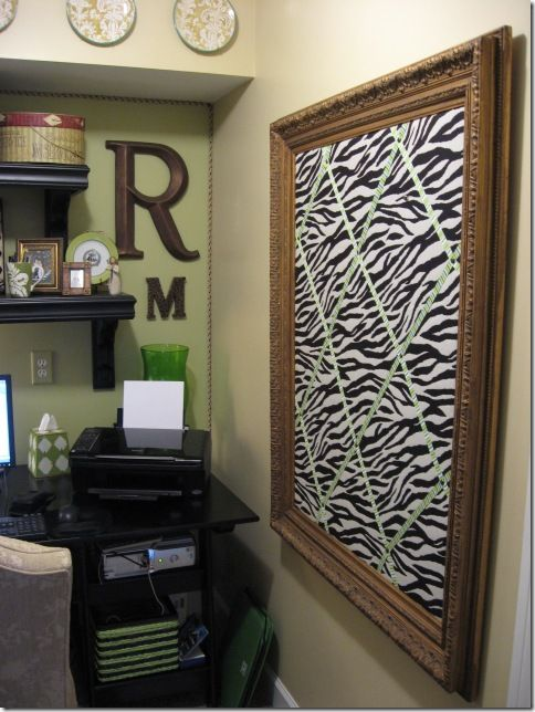 I've been wondering how to do this.: Zebra Bulletin Boards, Crafty Stuff, Diy Crafts, Room Makeover, Old Frames, Craft Room Office, Crafts Diy, Fabric