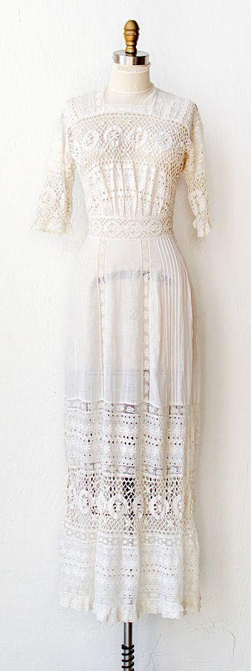 antique 1910s dress   antique lawn dress   Thing of Beauty Dress $498