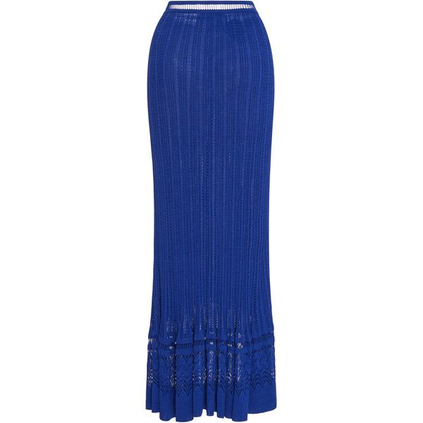Oscar de la Renta     Knit Maxi Skirt ($1,490) ❤ liked on Polyvore featuring skirts, blue, knit maxi skirt, long maxi skirts, floor length skirts, long blue maxi skirt and maxi skirt