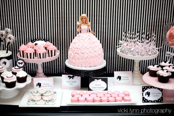 Barbie inspired party: Desserts Table, Little Girls, Barbie Cakes, Girls Birthday Parties, Barbie Parties, Parties Ideas, Parties Theme, Girls Parties, Birthday Ideas