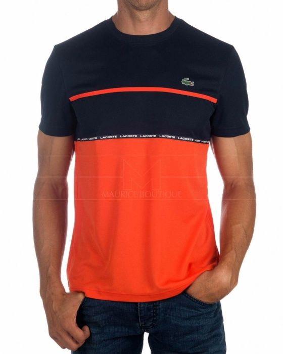 Camiseta Lacoste Sport - Azul Marino & Naranja