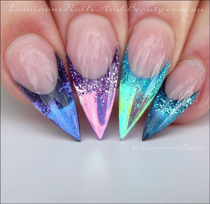 Getting My Chrome On... Sculptured Acrylic with Young Nails Cover Pink, Speed Clear, Purple Glitter, Lavender Glitter, Sea Spray Glitter, Stratosphere Glitter, Purple
