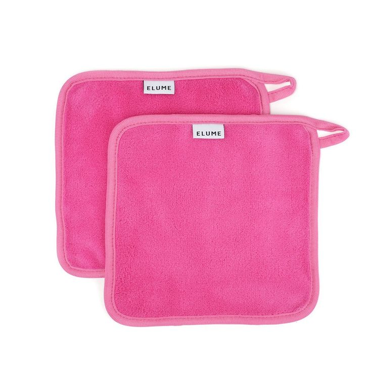 ELUME Makeup Remover Cloths with Loop to Hang Dry, Designed for Sensitive Skin to Gently Wipe Away Cosmetics, Facial Masks, Sunscreen, Dirt and Oil, Set of 2 Reusable Travel Size Pink Make Up Towels -- Wow! I love this. Check it out now! : Travel Makeup