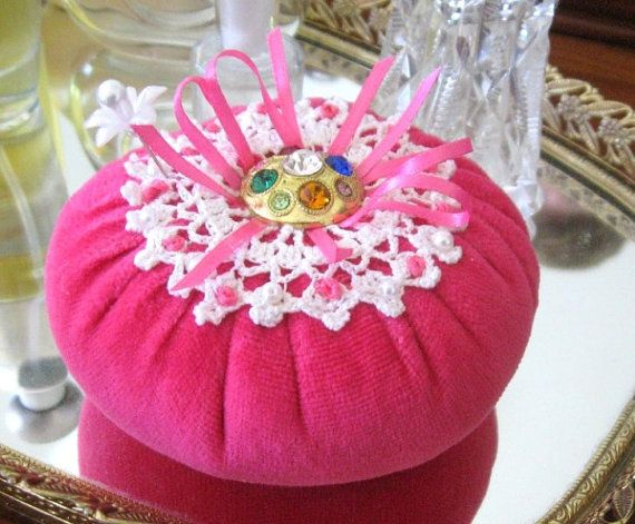 Pincushion Pin Keeper Flower PINK Velour Puff  by CharlotteStyle, $14.00